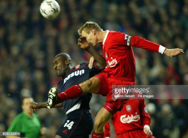 Sheffield Uniteds Wayne Allison battles with Liverpools Sami Hyypia during their Worhington Cup semifinal 2nd leg at Anfield Liverpool THIS PICTURE...