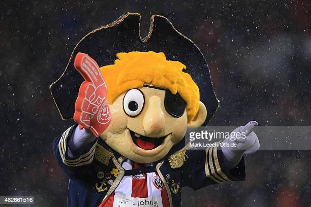 Sheff Utd mascot Captain Blade gestures ahead of the Capital One Cup SemiFinal Second Leg match between Sheffield United and Tottenham Hotspur at...