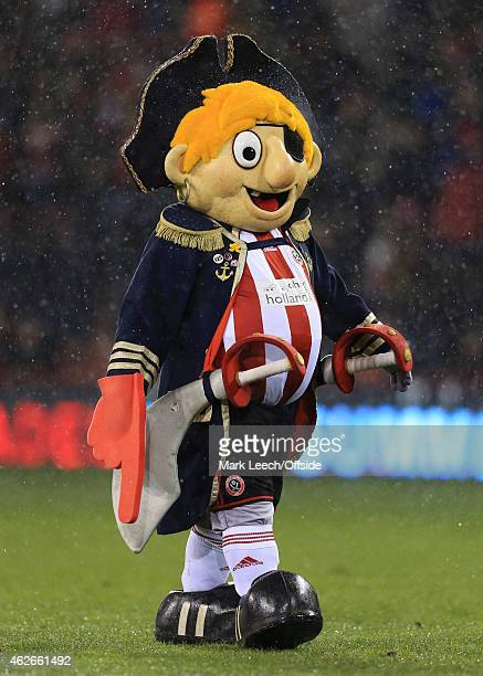 Sheff Utd mascot Captain Blade looks on prior to the Capital One Cup SemiFinal Second Leg match between Sheffield United and Tottenham Hotspur at...