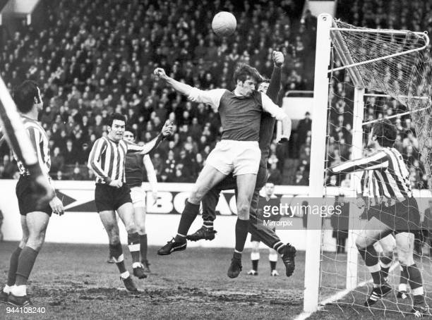 Sheffield Wednesday 0-0 Southampton, league match, Saturday 28th December 1968. Gurr, Southampton keeper, manages to punch the ball away from a...