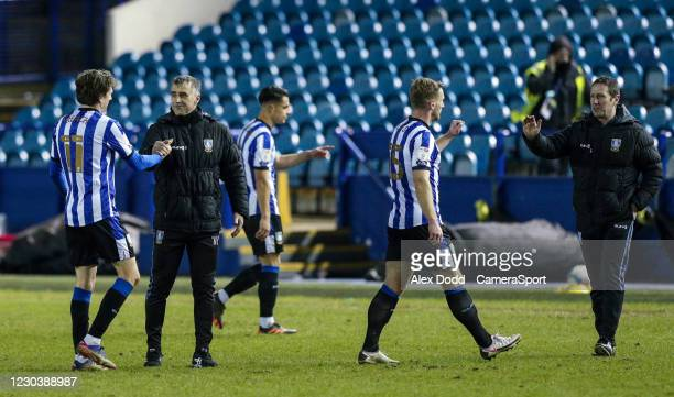 Sheffield Wednesday caretaker manager Neil Thompson celebrates with Adam Reach after the match during the Sky Bet Championship match between...