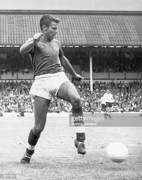 Sheffield Wednesday centre-half Peter Swann in action, August 1961.