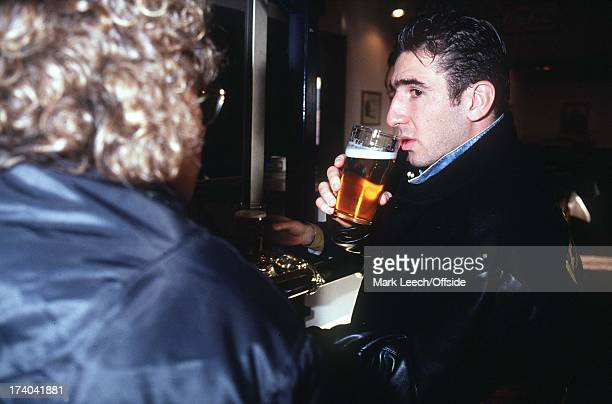 Sheffield Wednesday Eric Cantona drinking a pint of beer before his trial match with Sheffield Wednesday at Hillsborough