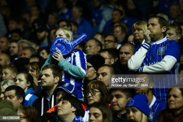Sheffield Wednesday fans look on in anticipation during the Sky Bet Championship match between Sheffield Wednesday and Huddersfield Town at...