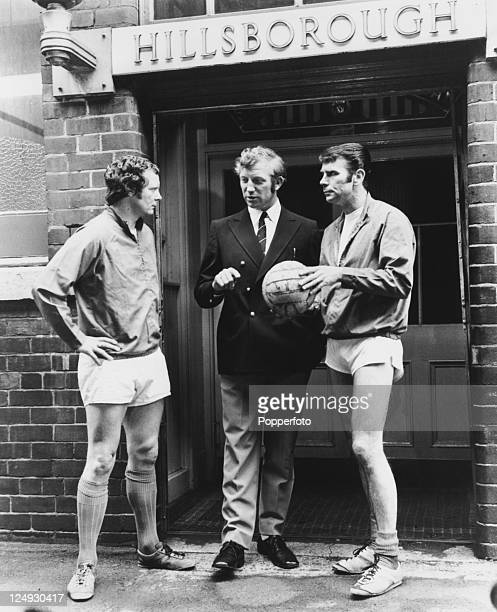 Sheffield Wednesday manager Derek Dooley with players David Layne and Peter Swan outside the Hillsborough Stadium, Sheffield, 28th June 1972. Layne...