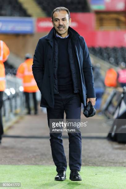 Sheffield Wednesday manager Jos Luhukay arrives prior to the game during The Emirates FA Cup Fifth Round Replay match between Swansea City and...