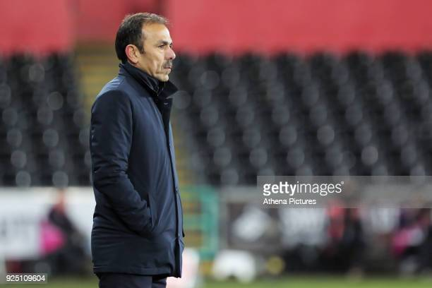 Sheffield Wednesday manager Jos Luhukay stands on the touch line during The Emirates FA Cup Fifth Round Replay match between Swansea City and...