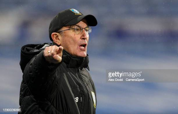 Sheffield Wednesday manager Tony Pulis shouts instructions to his team from the technical area during the Sky Bet Championship match between...