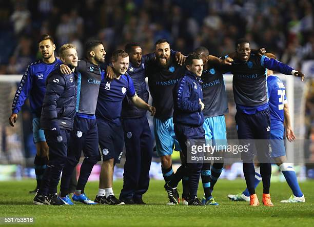 Sheffield Wednesday players celebrate after the Sky Bet Championship Play Off semi final second leg match between Brighton Hove Albion and Sheffield...