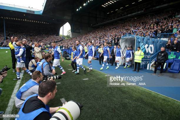 Sheffield Wednesday players enter the pitch during the Sky Bet Championship match between Sheffield Wednesday and Sheffield United at Hillsborough on...