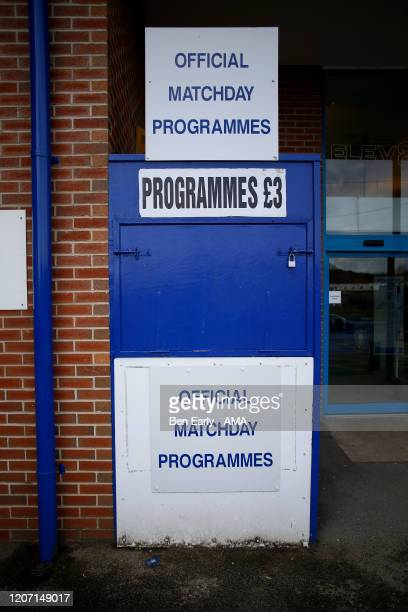 MARCH Sheffield Wednesday programme seller all closed at Hillsborough stadium the home of Sheffield Wednesday on March 14 2020 in Sheffield England...