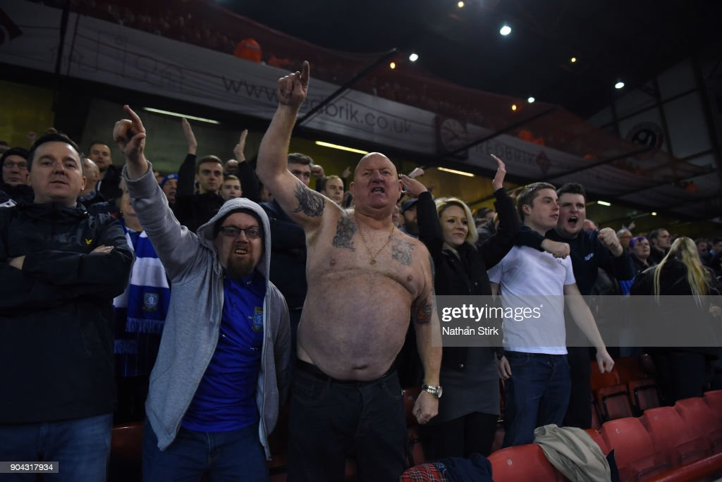Sheffield Wednesday sing during the Sky Bet Championship match between Sheffield United and Sheffield Wednesday at Bramall Lane on January 12, 2018 in Sheffield, England.