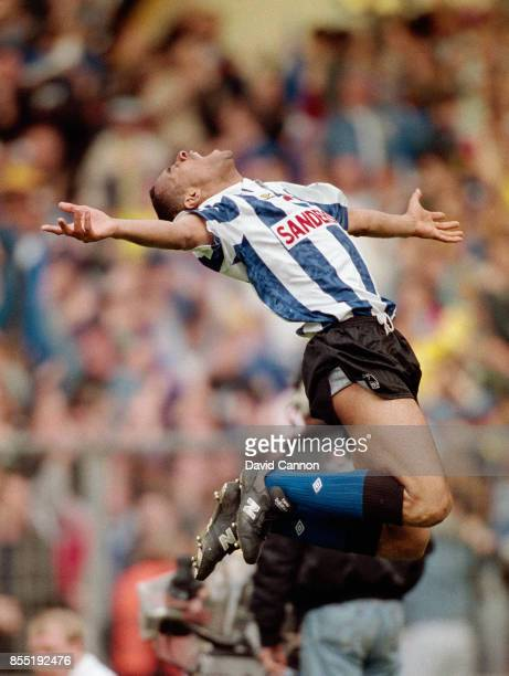 Sheffield Wednesday striker Mark Bright celebrates after scoring the winning goal in the 1993 FA Cup Semi Final against Sheffield United at Wembley...