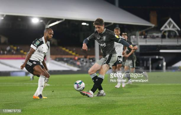 Sheffield Wednesday's Adam Reach with a first half shot during the Carabao Cup Third Round match between Fulham and Sheffield Wednesday at Stamford...