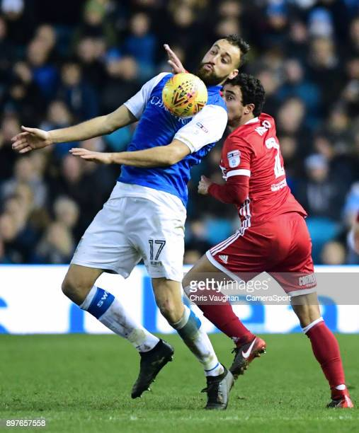 Sheffield Wednesday's Atdhe Nuhiu vies for possession with Middlesbrough's Fabio during the Sky Bet Championship match between Sheffield Wednesday...