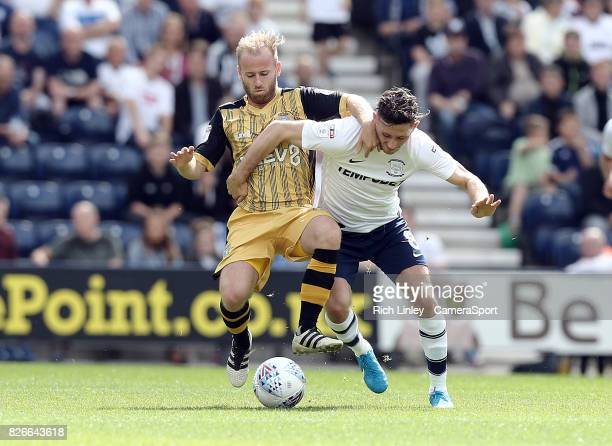 Sheffield Wednesday's Barry Bannan battles with Preston North End's Alan Browne during the Sky Bet Championship match between Preston North End and...