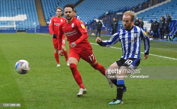Sheffield Wednesday's Barry Bannan crosses the ball during the Sky Bet Championship match between Sheffield Wednesday and Birmingham City at...