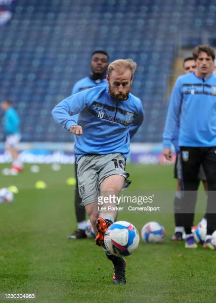Sheffield Wednesday's Barry Bannan shoots in the warm up during the Sky Bet Championship match between Blackburn Rovers and Sheffield Wednesday at...