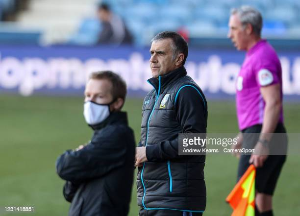 Sheffield Wednesday's caretaker manager Neil Thompson looks on during the Sky Bet Championship match between Luton Town and Sheffield Wednesday at...