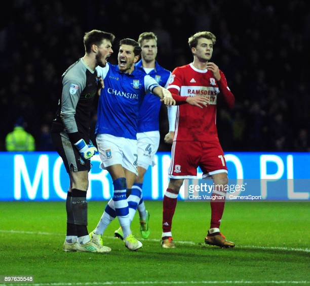 Sheffield Wednesday's Joe Wildsmith left is congratulated on saving a penalty taken by Middlesbrough's Grant Leadbitter by his teammate Sam...