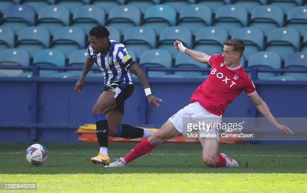 Sheffield Wednesday's Kadeem Harris in action with Nottingham Forest's Ryan Yates during the Sky Bet Championship match between Sheffield Wednesday...