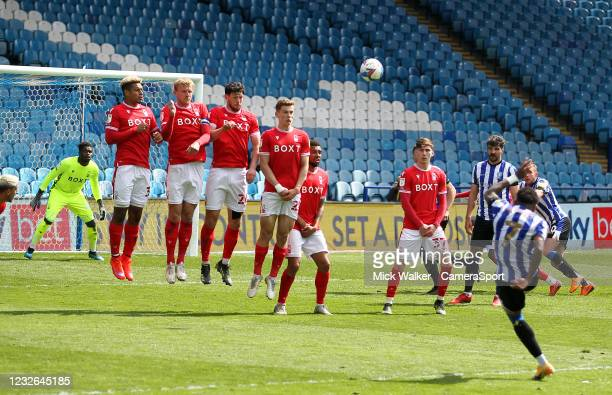 Sheffield Wednesday's Kadeem Harris takes a free kick during the Sky Bet Championship match between Sheffield Wednesday and Nottingham Forest at...