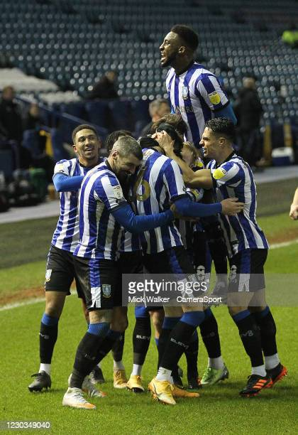 Sheffield Wednesday's Liam Shaw celebrates scoring his side's second goal during the Sky Bet Championship match between Sheffield Wednesday and...