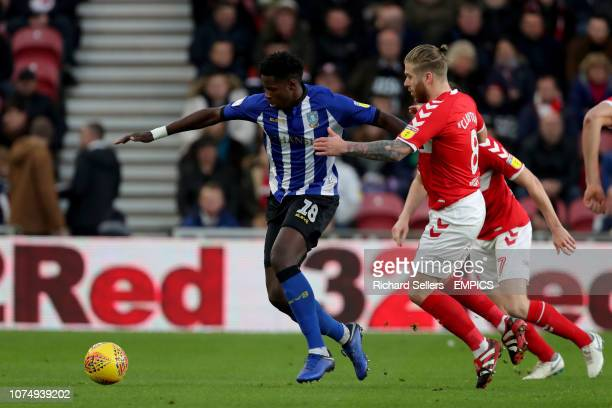 Sheffield Wednesday's Lucas Joao holds off Middlesbrough's Adam Clayton Middlesbrough v Sheffield Wednesday Sky Bet Championship Riverside Stadium
