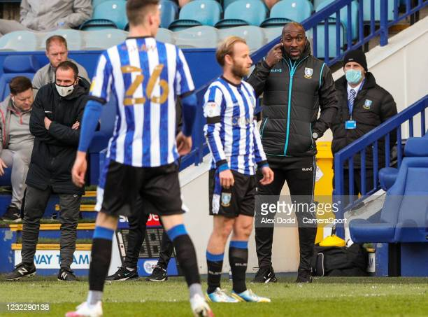 Sheffield Wednesday's manager Darren Moore shouts instructions to his team from the technical area during the Sky Bet Championship match between...