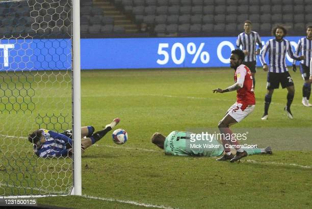Sheffield Wednesday's Matt Penney scores his side's first goal beating Rotherham United's Viktor Johansson during the Sky Bet Championship match...