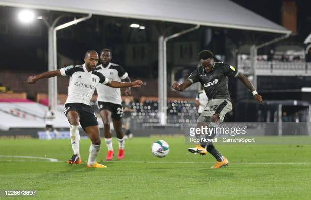 Sheffield Wednesday's Moses Odubajo with a first half shot during the Carabao Cup Third Round match between Fulham and Sheffield Wednesday at...