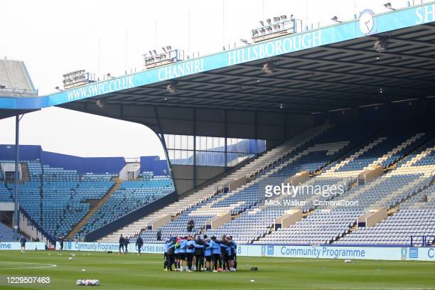 Sheffield Wednesday's players warm up during the Sky Bet Championship match between Sheffield Wednesday and Millwall at Hillsborough Stadium on...