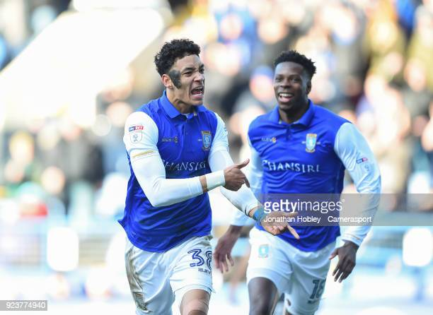 Sheffield Wednesday's Sean Claire celebrates scoring his side's first goal with team mate Lucas Joao during the Sky Bet Championship match between...