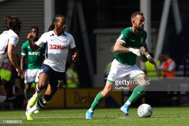 Sheffield Wednesday's Steven Fletcher in action with Preston North End's Daniel Johnson during the Sky Bet Championship match between Preston North...