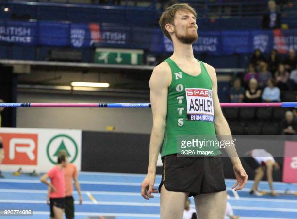 Sheffield's Matthew Ashley looks to the crowd after his jump at the British Indoor Championships Birmingham