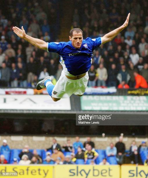 Shefki Kuqi of Ipswich celebrates his goal during the Nationwide Division One match between Ipswich Town and Cardiff City at Portman Road on May 9...