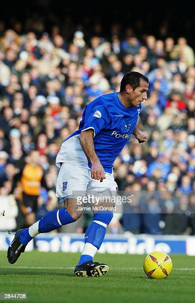 Shefki Kuqi of Ipswich Town runs with the ball during the Nationwide League Division One match between Ipswich Town and Norwich City held on December...