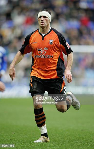 Shefki Kuqi of Ipswich with a bandaged head during the FA CocaCola Championship match between Reading and Ipswich Town held at the Madejski Stadium...