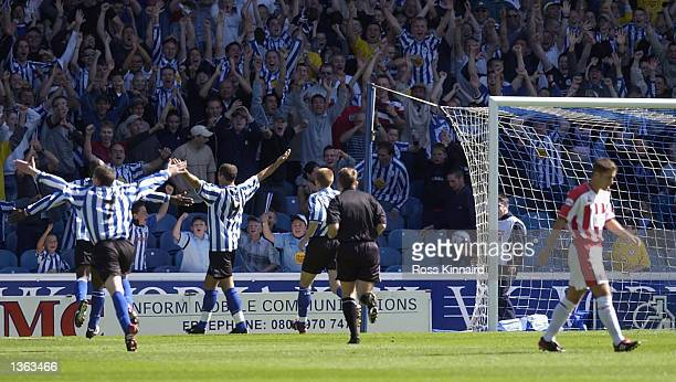 Shefki Kuqi of Sheffield Wednesday celebrates after scoring the second goal during the Nationwide Division One match between Sheffield Wednesday and...