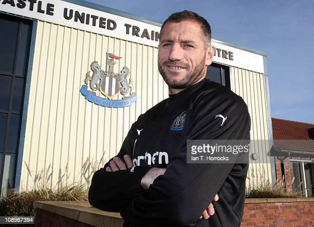 Shefki Kuqi poses after signing for Newcastle United as a free agent at the Little Benton Training Ground on February 10 2011 in Newcastle upon Tyne...