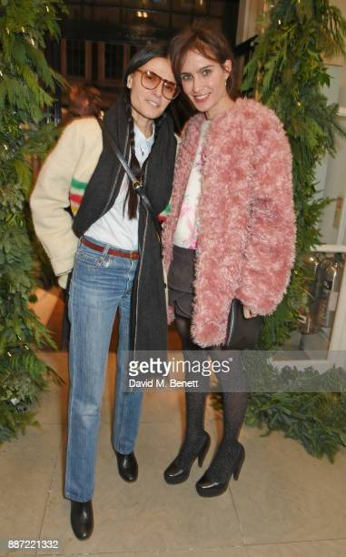 Sheherazade Goldsmith and guest attend the Stella McCartney Christmas Lights 2017 party on December 6 2017 in London England