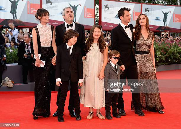 Sheherazade Goldsmith director Alfonso Cuaron with their children screenwriter Jonas Cuaron with his wife Eireann Harper and theyr son attend...