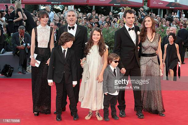 Sheherazade Goldsmith director Alfonso Cuaron with their children screenwriter Jonas Cuaron with his wife Eireann Harper and their son attend...