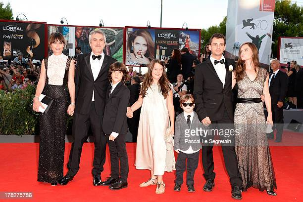 Sheherazade Goldsmith director Alfonso Cuaron with their children screenwriter Jonas Cuaron with his wife Eireann Harper and their son attend the...