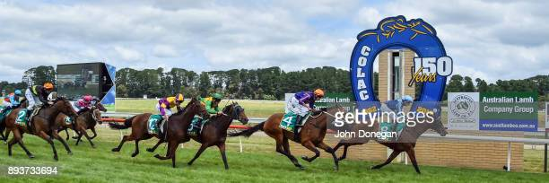 Shehroz ridden by Declan Bates wins the Prestige Jayco Maiden Plate at Colac Racecourse on December 16 2017 in Colac Australia