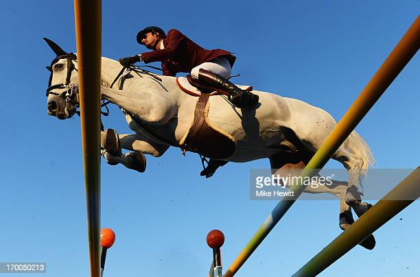 Sheik Ali Bin Khaled Al Thani of Qatar on Cantaro in action during the Longines Global Champions Tour of London - Day One show jumping at Olympic...