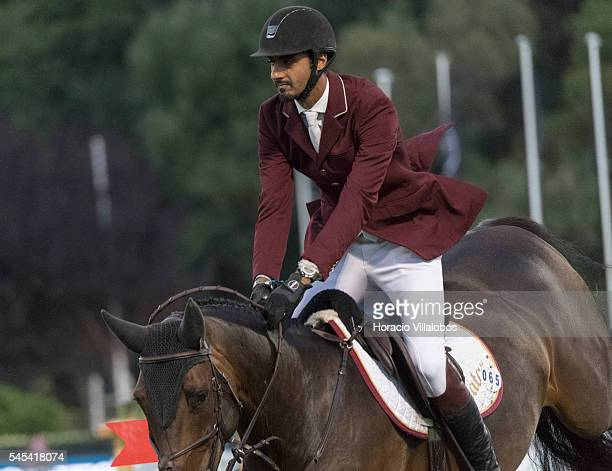 Sheik Ali Bin Khalid Al Thani of Qatar and horse Carolina during the first day of Longines Global Champion Tour on July 7, 2016 in Cascais, Portugal.