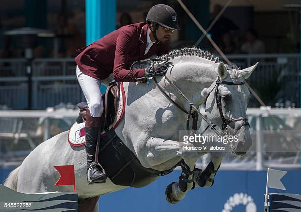 Sheik Ali Bin Khalid Al Thani of Qatar and horse Imperio Egipcio Milton during the jumping competition against the clock on the second day of the...