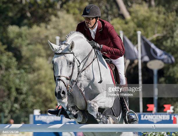 Sheik Ali Bin Khalid Al Thani of Qatar and horse Imperio Egipcio Milton during the competition on the third day of the Longines Global Champion Tour...
