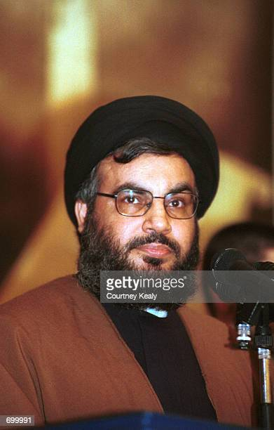 Sheik Hassan Nasrallah, Secretary General of Hezbollah, speaks to supporters February 8, 2002 in Beirut, Lebanon. Nasrallah denied claims that there...